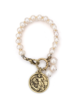 FRENCH KANDE PEARLS WITH SILVER WIRE, CHEVAL CHAIN, ST. CHRIS MODERN MEDALLION AND SWAROVSKI
