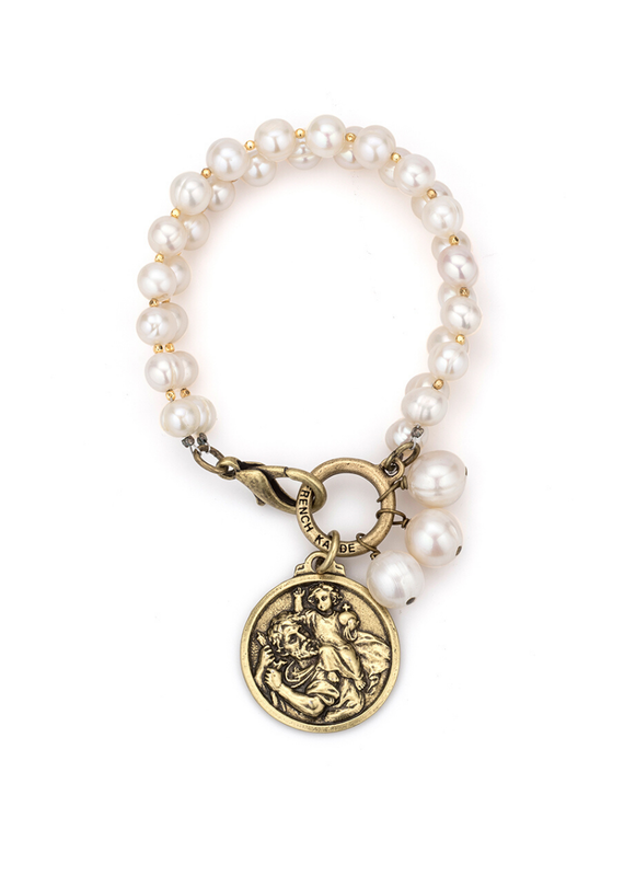 FRENCH KANDE Pearls with Silver Wire, Cheval Chain, St. Christopher Modern Medallion