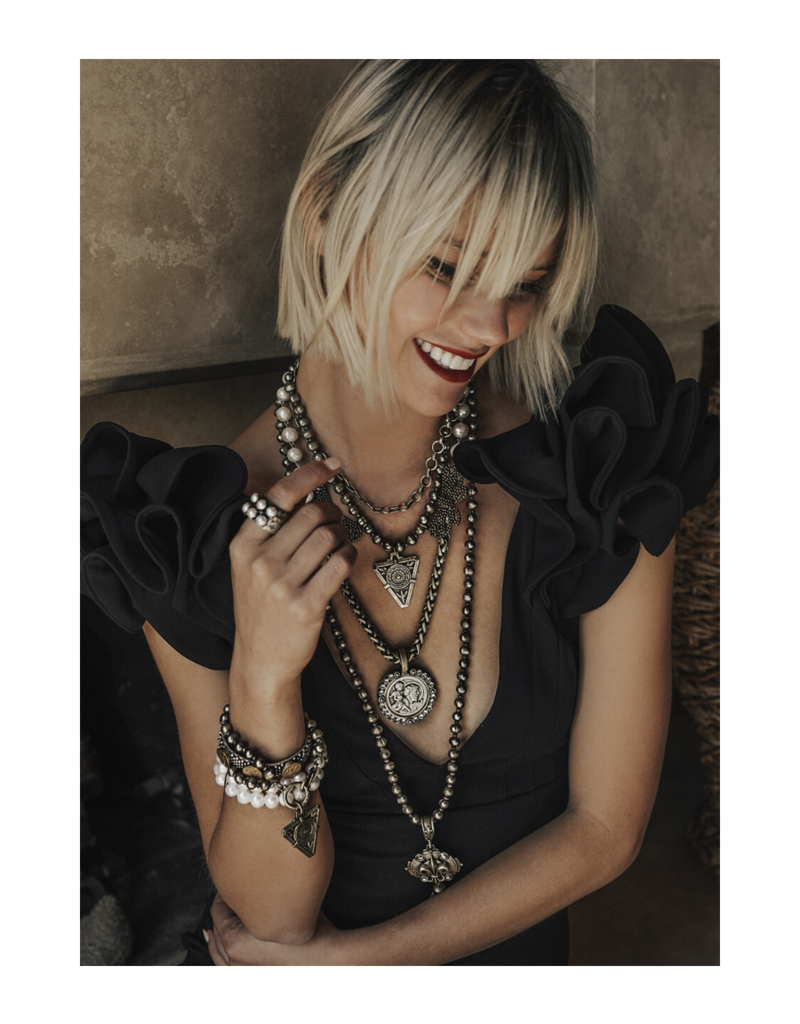 FRENCH KANDE PEARLS WITH SILVER WIRE, CHEVAL CHAIN, ST. CHRIS MODERN MEDALLION AND SWAROVSK