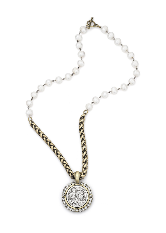 FRENCH KANDE Pearls with Silver Wire Cheval Chain, St. Christoper Modern Medallion