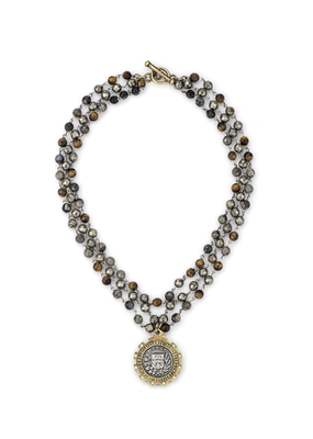 FRENCH KANDE TRIPLE STRAND CHARBON MIX WITH SILVER WIRE AND GUSTAVE MEDALLION