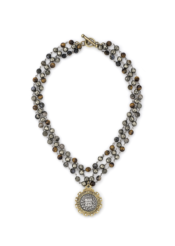 FRENCH KANDE Triple Strand Charbon Mix with Silver Gustave Medallion
