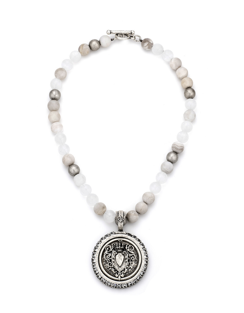 FRENCH KANDE LINEN MIX AND CENTENNIAL HEART STACK MEDALLION WITH SWAROVSKI
