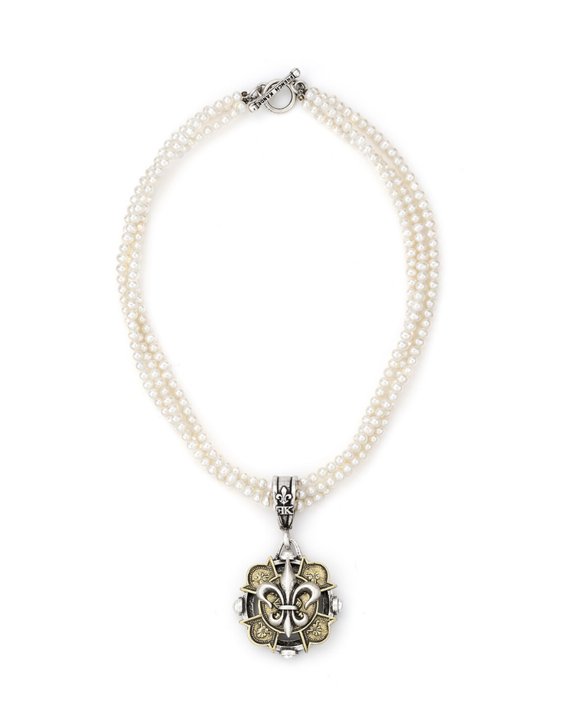 FRENCH KANDE Triple Strand Pearls with Merit Fleur Stack Medallion