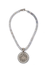 FRENCH KANDE SILVER PEARLS WITH FAMILLE MEDALLION AND SWAROVSKI