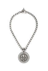 FRENCH KANDE CHEVAL CHAIN WITH CENTENNIAL FLEUR STACK MEDALLION AND SWAROVSKI