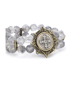 FRENCH KANDE DOUBLE STRAND FACETED CLOUDY QUARTZ AND MINI SAINT BENEDICT MEDALLION