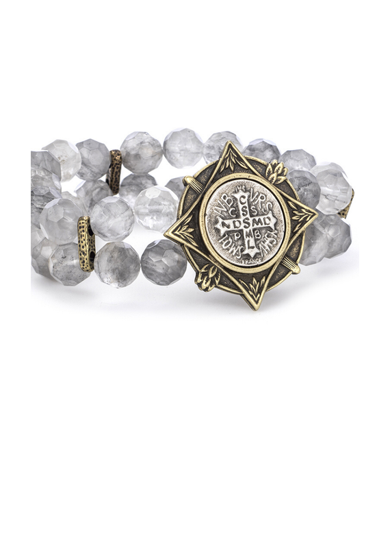 FRENCH KANDE Double Strand Faceted Cloudy Quartz Normandy Medallionand Bezel and Mini Saint Benedict Medallion