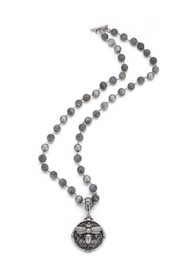 FRENCH KANDE MOONLIGHT MIX WITH SILVER WIRE AND MIEL STACK MEDALLION