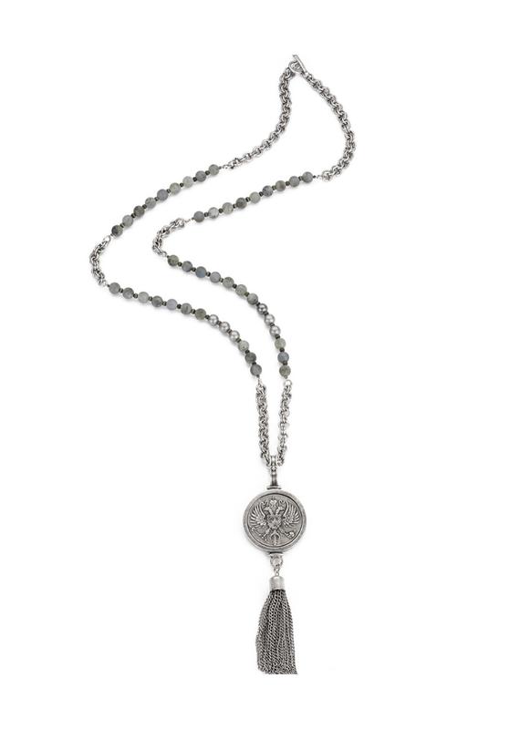 FRENCH KANDE Sandblast Labradorite with Canard Medallion with Tassel