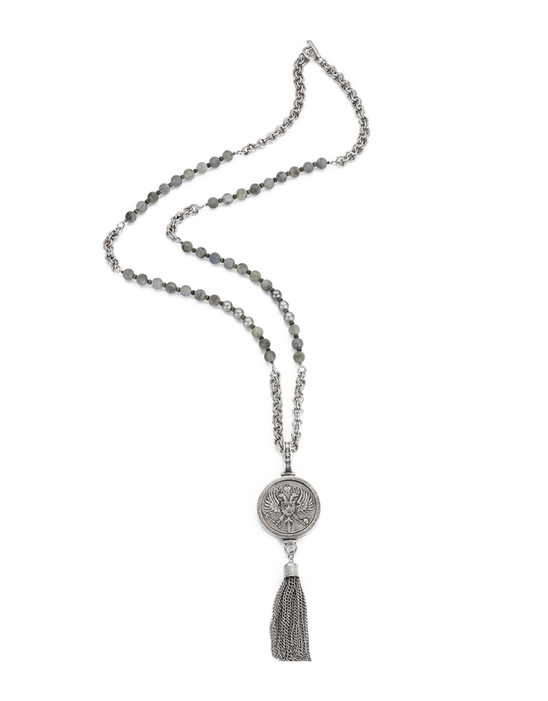 FRENCH KANDE Sandblast Labradorite with Canard Medallion with Tassel
