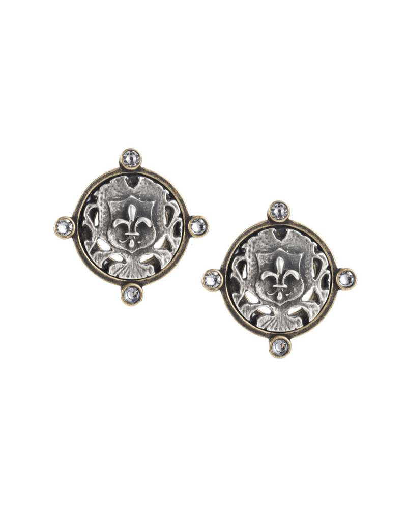 FRENCH KANDE Oreille Earrings with Silver Fleur Mini Medallions