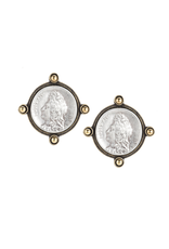 FRENCH KANDE OREILLE EARRINGS WITH SILVER LOUIS MINI MEDALLION