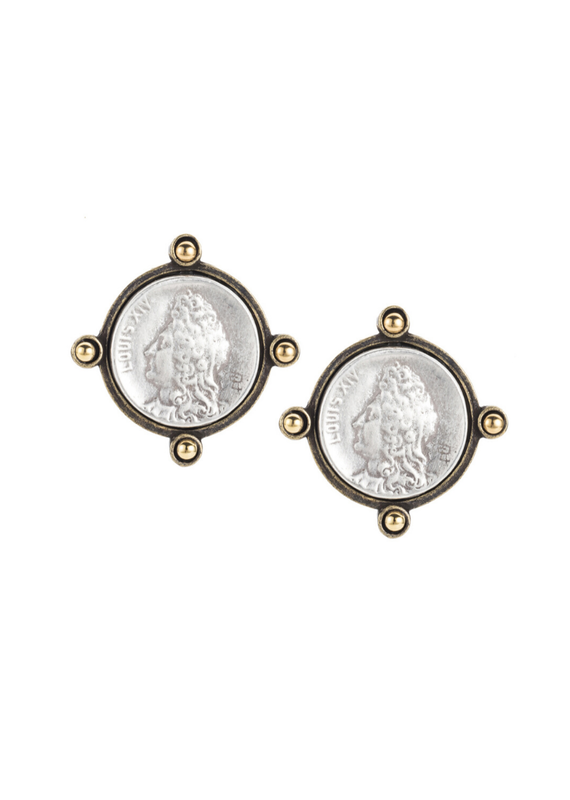 FRENCH KANDE Oreille Earrings with Silver Louis Mini Medallions