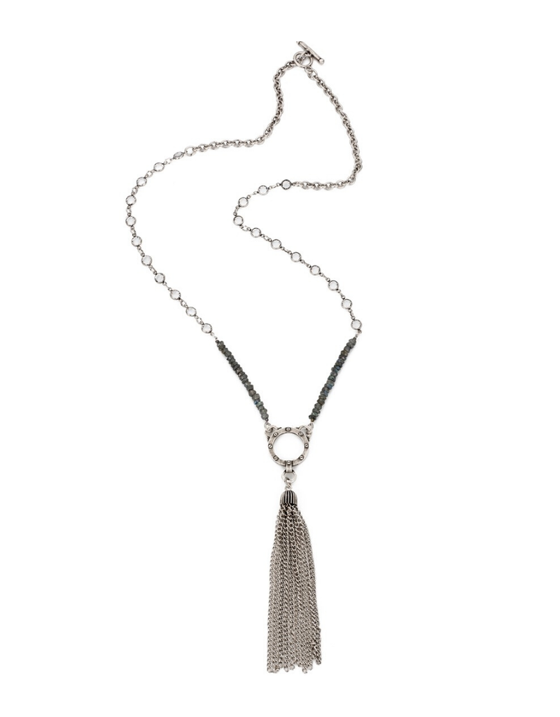 FRENCH KANDE SWAROVSKI AND LABRADORITE WITH TASSEL