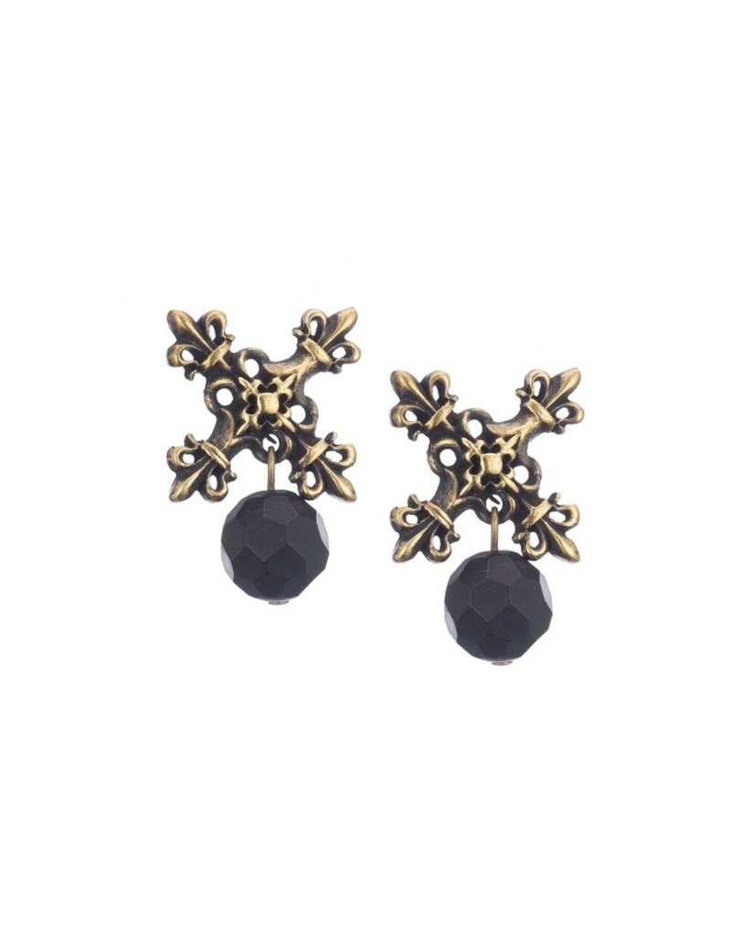 FRENCH KANDE BLACK ONYX BRASS EARRINGS