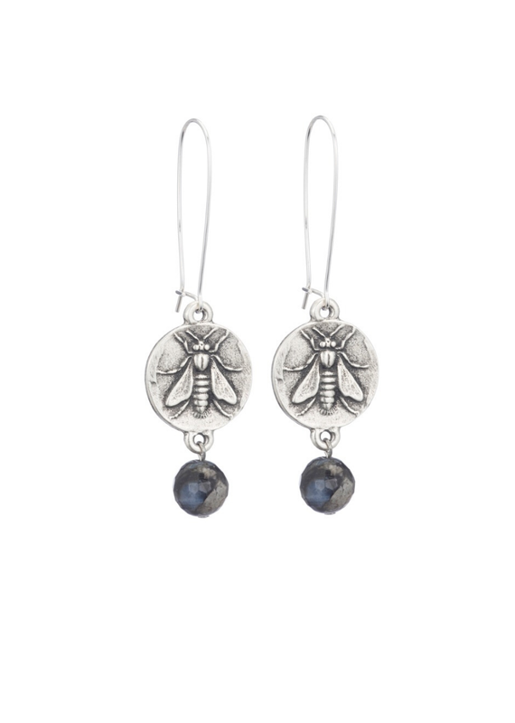 FRENCH KANDE Drop Earrings with Mini Abeille Medallion and Faceted Shadow Opal
