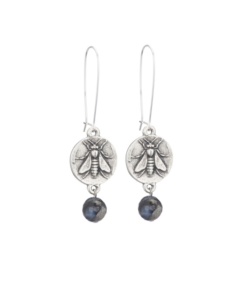 FRENCH KANDE DROP EARRINGS WITH MINI ABEILLE MEDALLION AND SHADOW OPAL