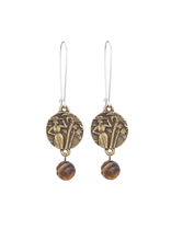 FRENCH KANDE Drop Earrings with Mini Colombie Medallion andTiger's Eye