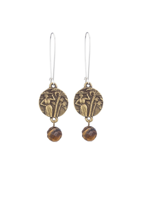 FRENCH KANDE DROP EARRINGS WITH MINI COLOMBIE MEDALLION AND TIGER'S EYE