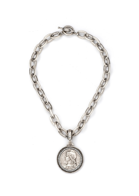 FRENCH KANDE Lourdes Chain with Chemins Medallion and Swarovski