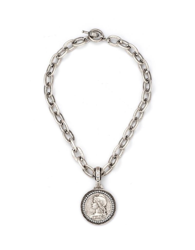 FRENCH KANDE LOURDES CHAIN WITH CHEMINS MEDALLION AND SWAROVSKI