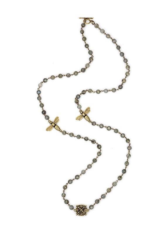 FRENCH KANDE Faceted Grey Labradorite with Brass Wire, Miel Pendants and X Medallion