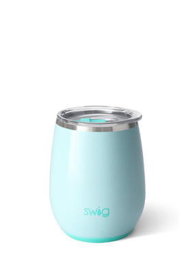 SWIG GLOSSY SEAGLAS STEMLESS WINE GLASS (14 OZ)