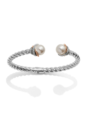 BRIGHTON NEPTUNE'S RING OPEN HINGED PEARL BANGLE