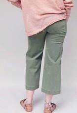 GREEN WIDE LEG CROP PANT