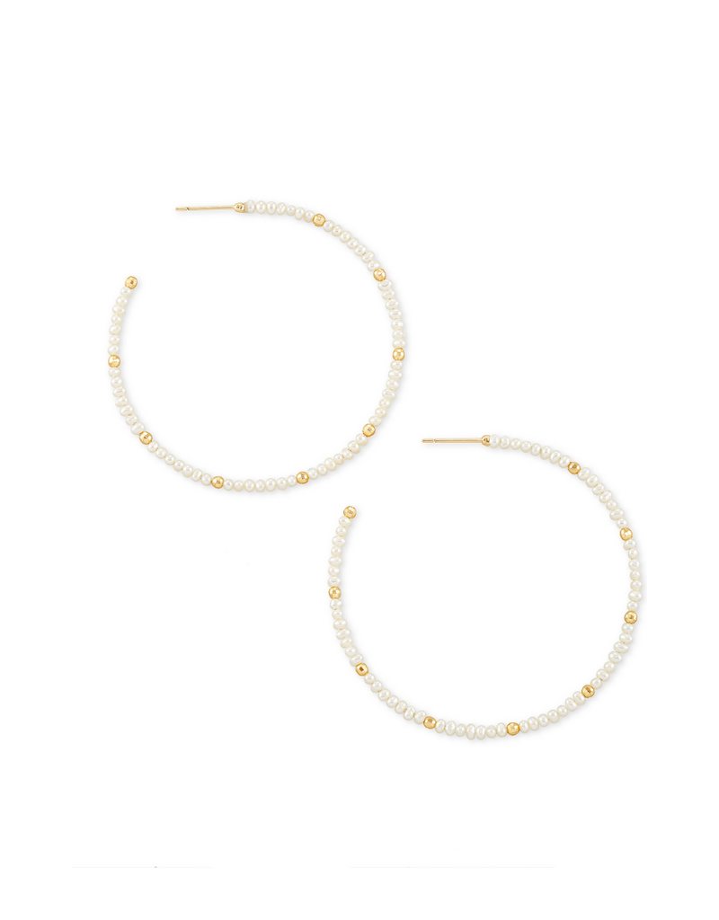 KENDRA SCOTT SCARLET HOOP EARRINGS WHITE PEARL