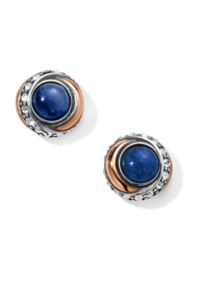 BRIGHTON NEPTUNES RINGS BRAZIL BLUE QUARTZ BUTTON EARRINGS