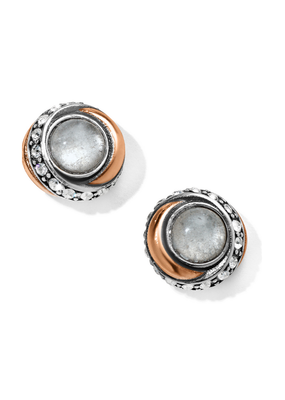 BRIGHTON NEPTUNE'S RINGS CRYSTAL BUTTON EARRINGS