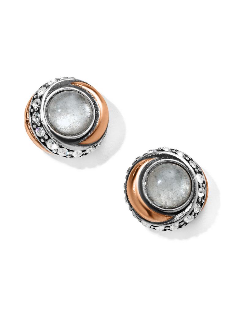 BRIGHTON NEPTUNE'S RINGS CRYSTAL BUTTON EARRINGS