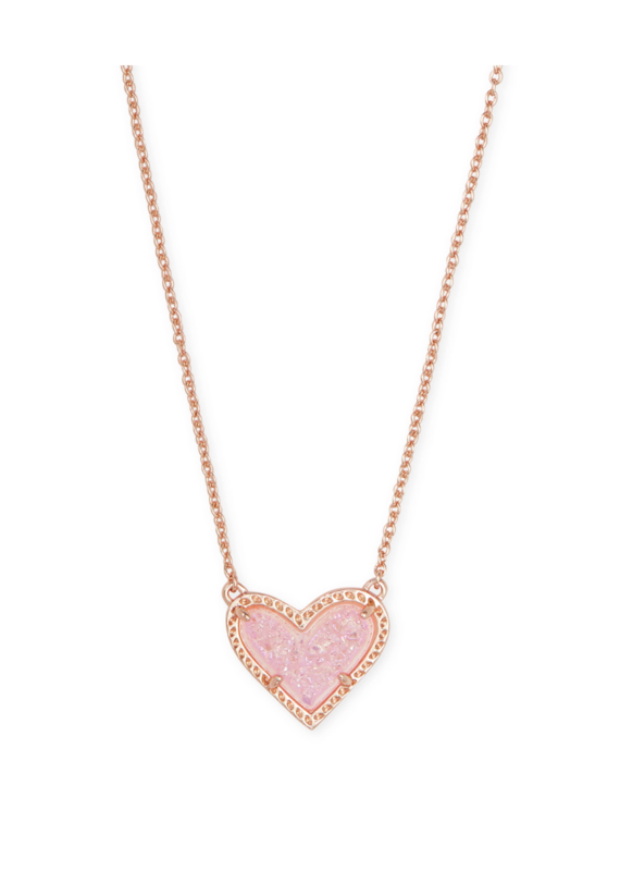 KENDRA SCOTT ARI HEART SHORT PENDANT ROSE GOLD PINK DRUSY