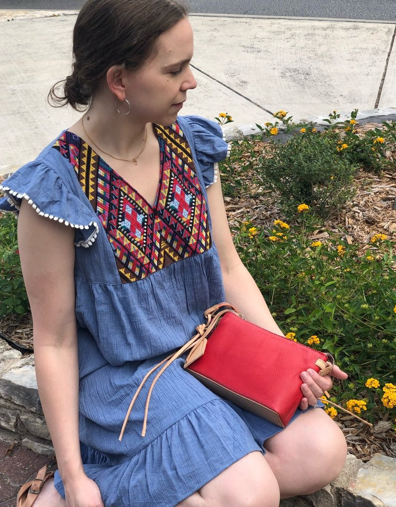 CHAMBRAY DRESS WITH FLUTTER SLEEVE AND EMBROIDERY