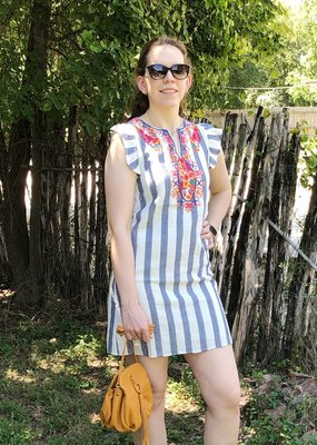 BLUE AND WHITE STRIPED DRESS WITH EMBROIDERY