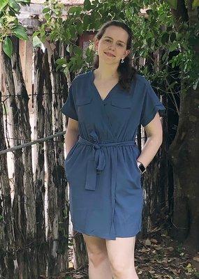 BLUE DOUBLE POCKET DRESS