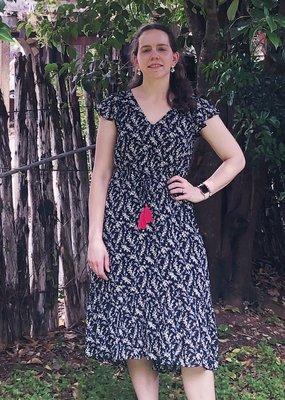 NAVY PRINT V-NECK DRESS