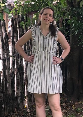 CHARCOAL STRIPE DRESS