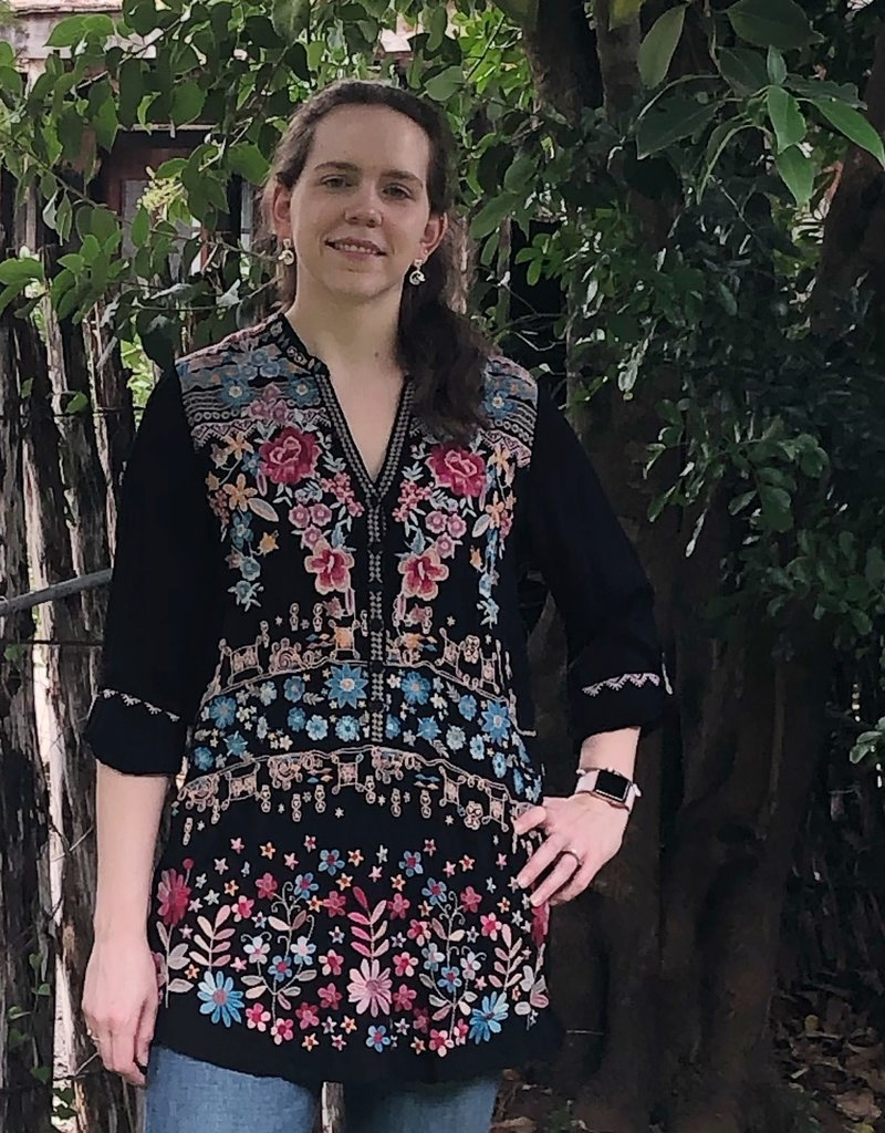JOHNNY WAS Black Embroidered Tunic