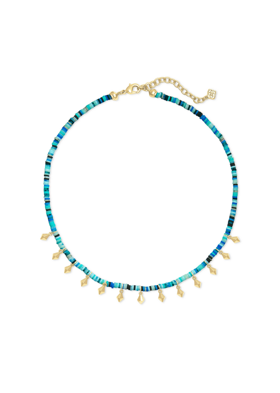 KENDRA SCOTT REECE CHOKER  SEA GREEN GOLD