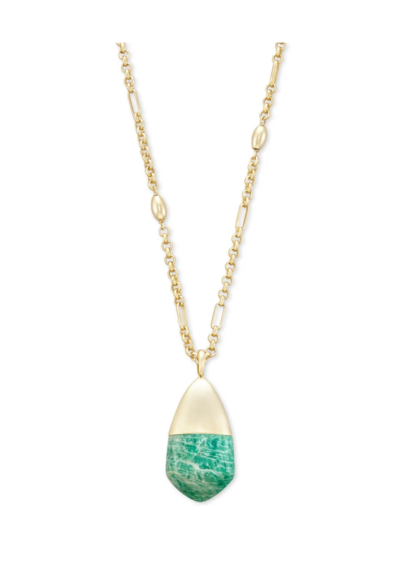 KENDRA SCOTT Freida Long Pendant Teal Amazonite Necklace