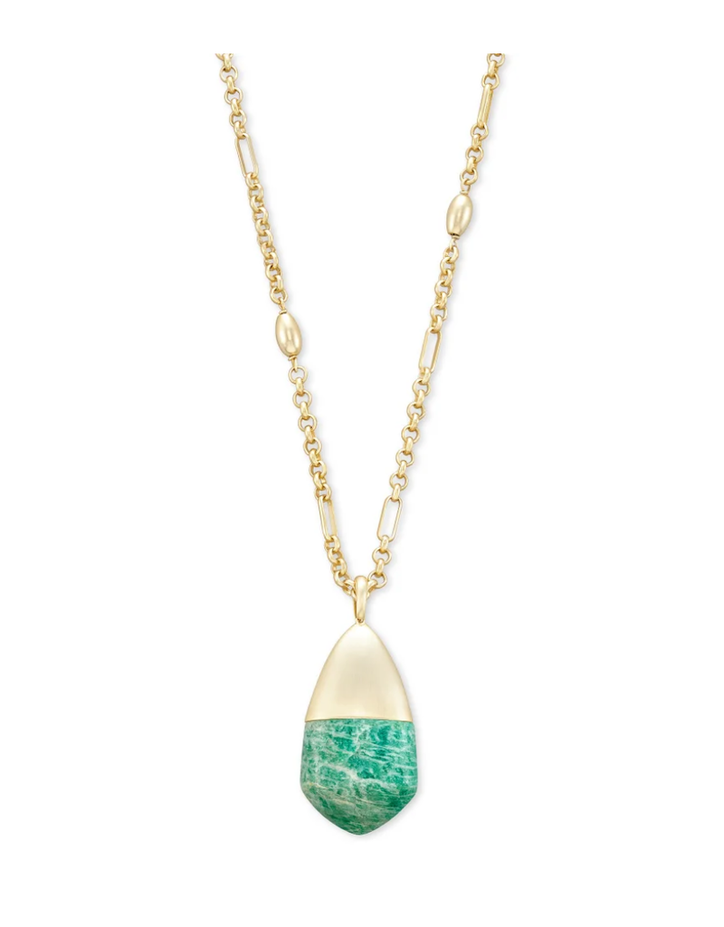 KENDRA SCOTT FREIDA LONG PENDANDT TEAL AMAZONITE
