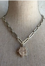 """FRENCH KANDE 16-19"""" VERSAILLES CHAIN WITH MARMONDE BEZEL AND SWAROVSKI CABS"""