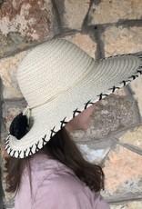 DORFMAN Wide Brim Straw Hat with Poms