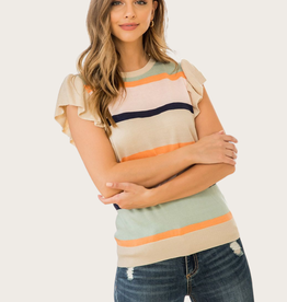 THML Ribbed Knit Flutter Sleeve Top