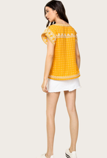 THML Embroidered SS Yellow Top