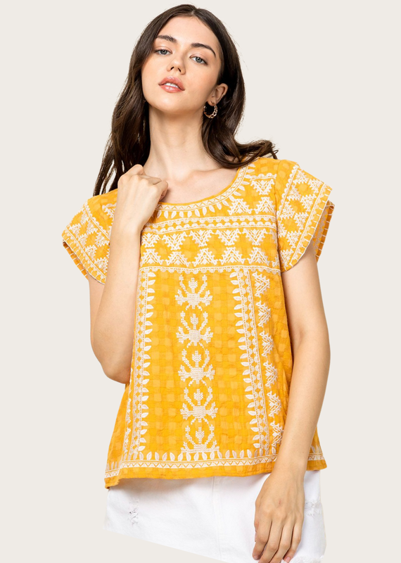 THML Embroidered Short Sleeve Yellow Top