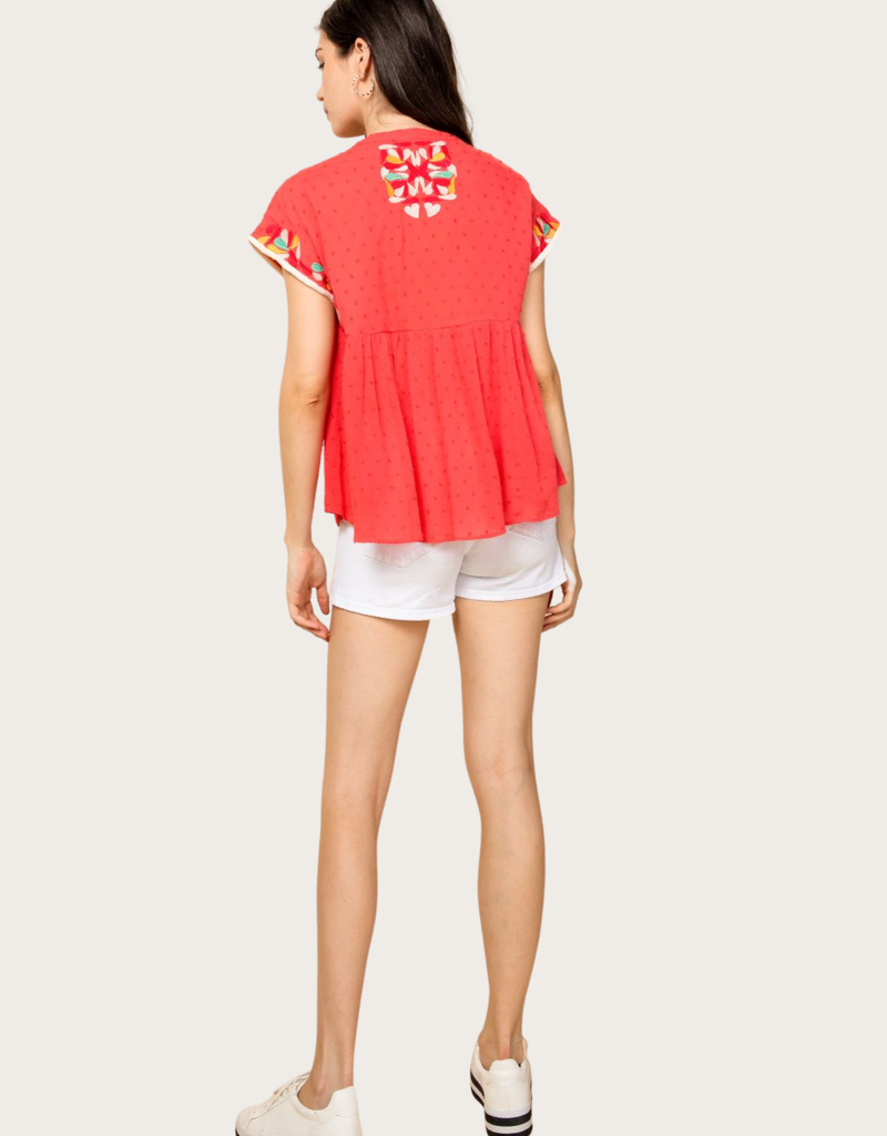 THML Embroidered Top With Tassel Neck Tie